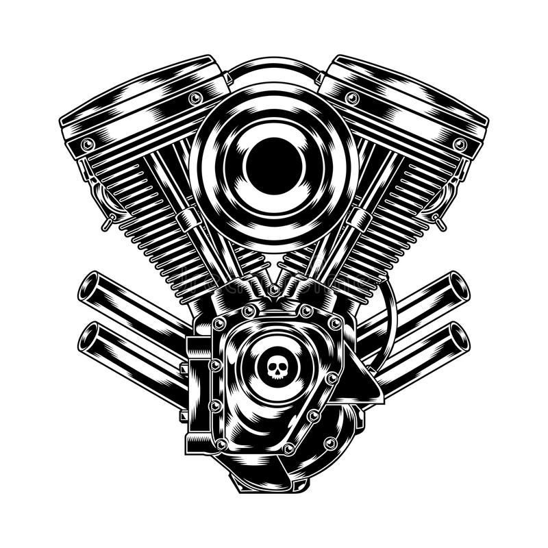 Motorcycle Engine. Illustration of motorcycle engine in chrome look. Suitable for graphic element, apparel, and other design needs. Non-Layered