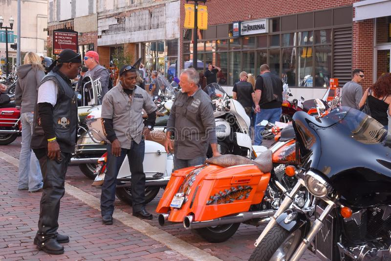 Biker Fraternity at Bikes on the Bricks in Flint, Michigan. Motorcycle enthusiasts gather in Flint, Michigan for this annual right of passage stock images