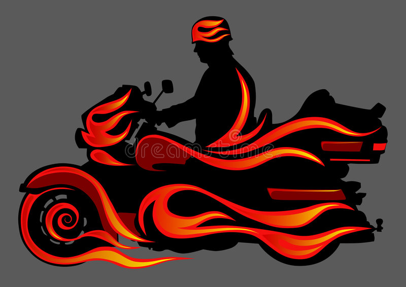 Download Motorcycle on fire stock vector. Image of motorized, land - 9322606