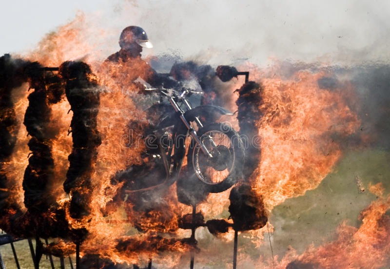 Motorcycle fire jump royalty free stock photography