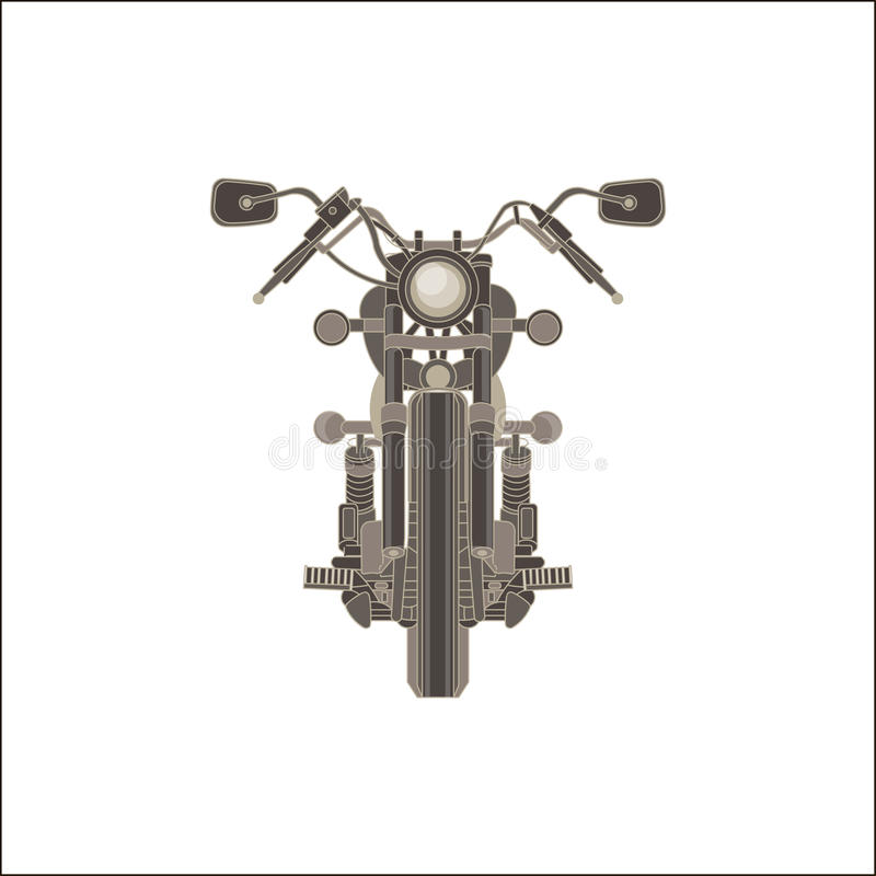 Motorcycle front view monochrome flat in gray color theme royalty free illustration