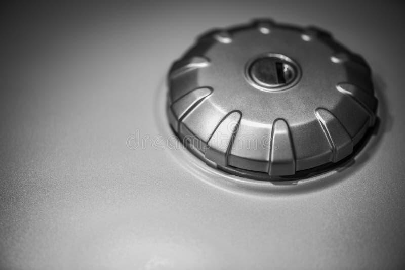Motorcycle gas tank cap stock image