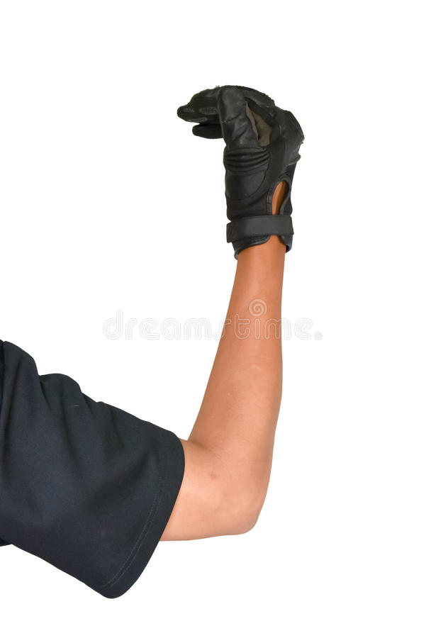Motorcycle glove and hand signal to turn left stock images