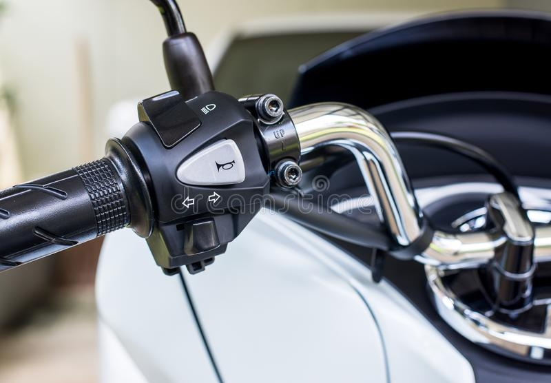 Motorcycle handlebar horns,turn signal,high-low front light button stock image