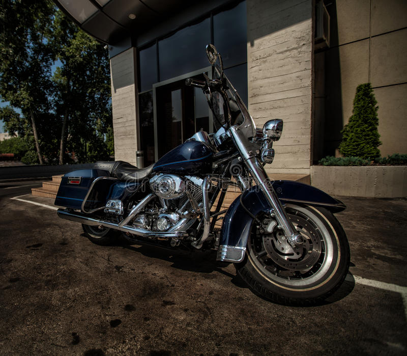 Motorcycle Harley-Davidson. Harley Davidson. Exclusive motorcycle in the city stock photo