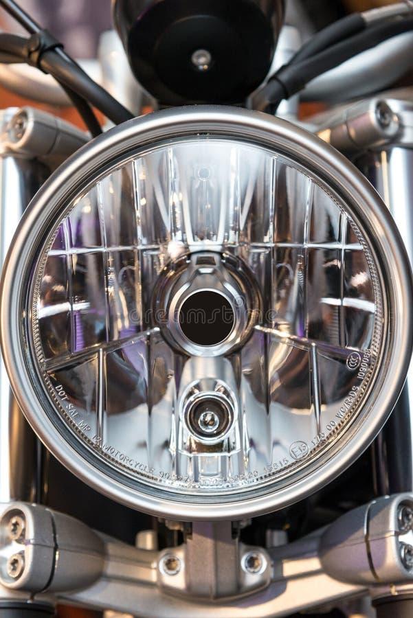 Motorcycle headlight full frame royalty free stock photo