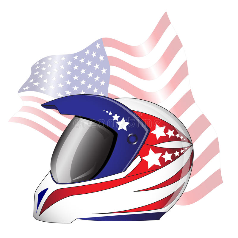 Motorcycle helmet. With red, white and blue 'Stars and Stripes' theme against American flag stock illustration