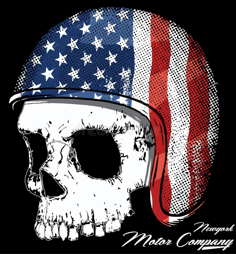 Motorcycle Helmet with American flag with skull Vector graphic f. Or t shirt royalty free illustration