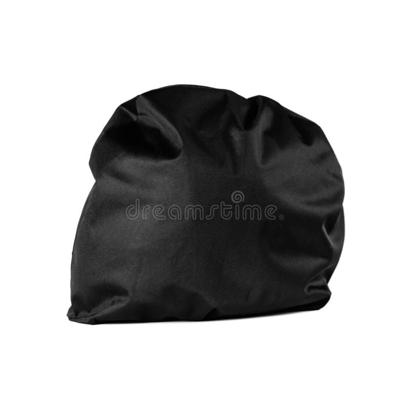 Motorcycle helmet in black textile cover. Close up. Isolated on white background.  stock images