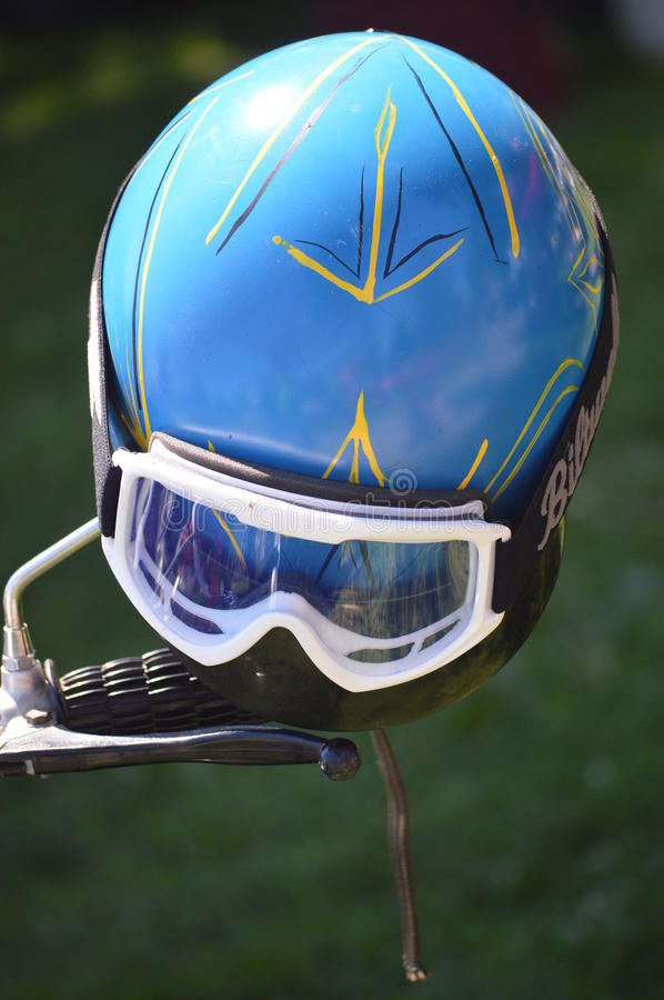 Motorcycle helmet with goggles royalty free stock image