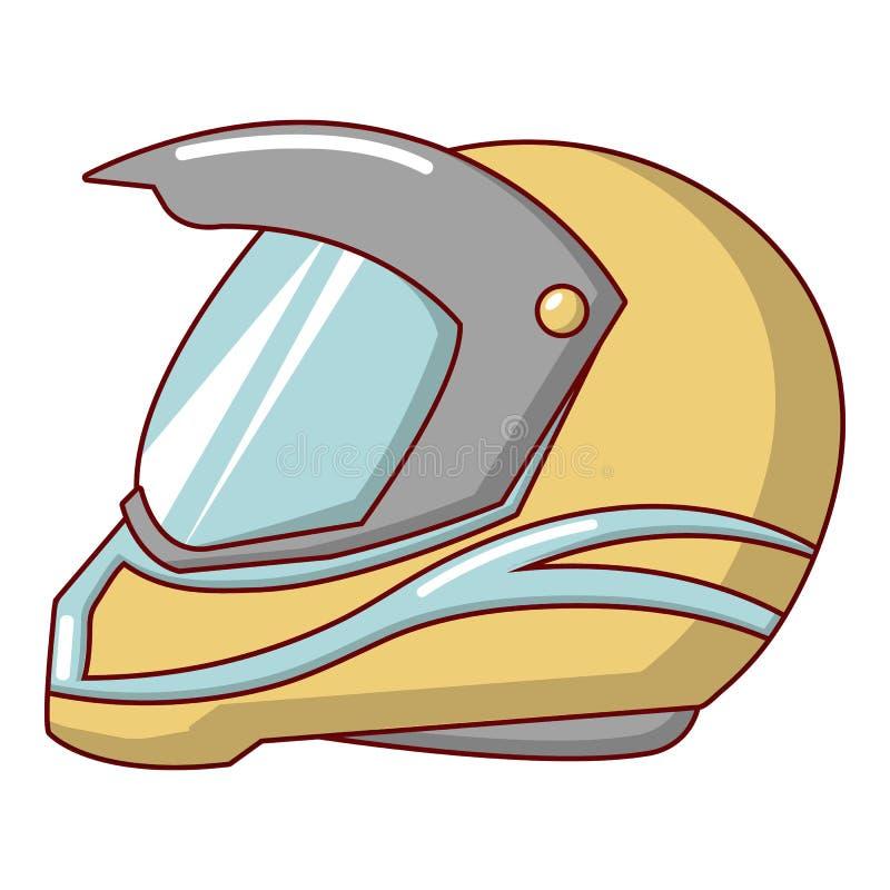 Motorcycle helmet racing icon, cartoon style vector illustration