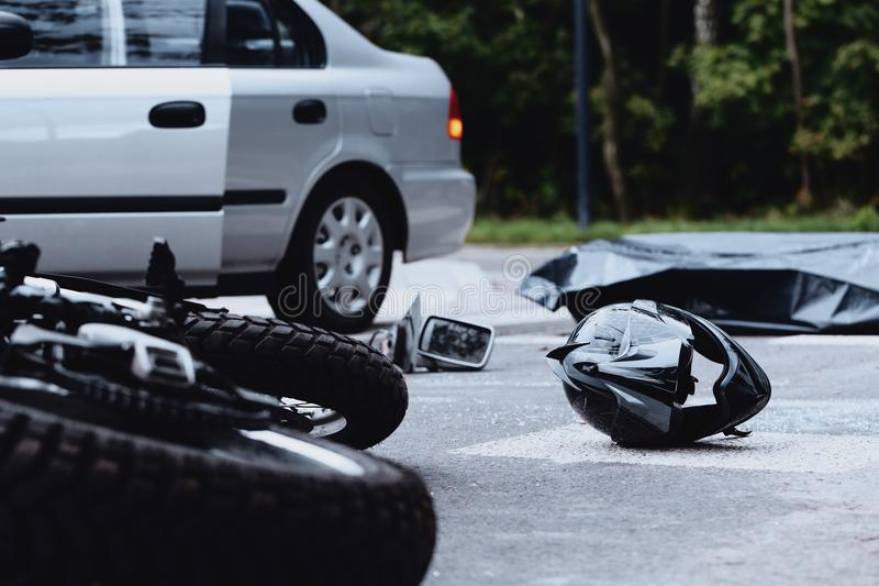Motorcycle helmet on the street stock image