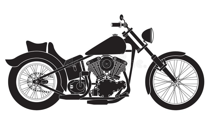 Motorcycle icon or sign. Black detailed silhouette of bike isolated on white background. Vector illustration. vector illustration