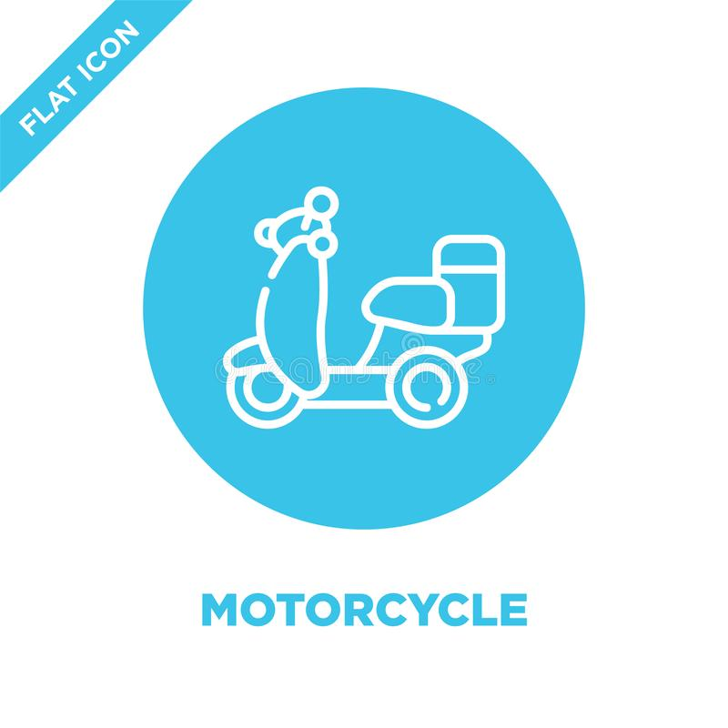 motorcycle icon vector from take away collection. Thin line motorcycle outline icon vector  illustration. Linear symbol for use on vector illustration