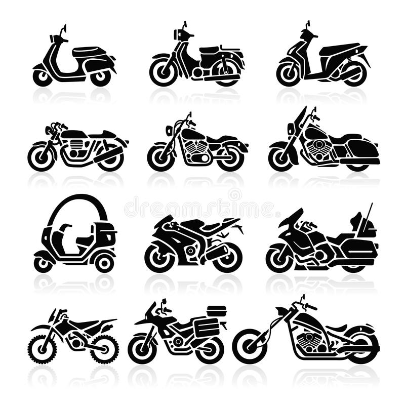 Free Motorcycle Icons. Vector Illustration. Stock Image - 38943531