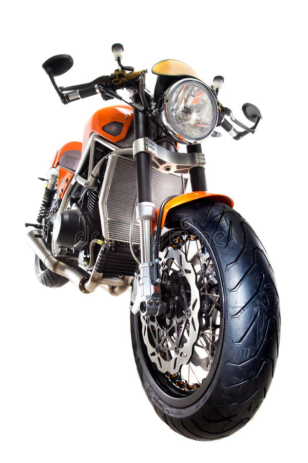 Motorcycle isolated front view stock image