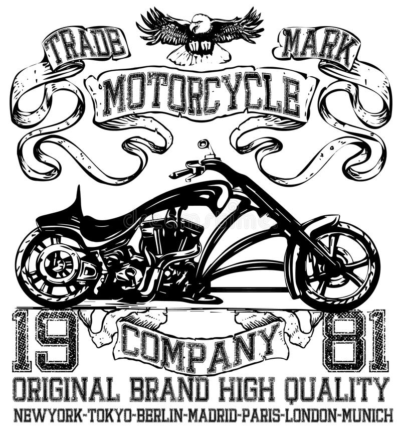 Motorcycle label t-shirt design with illustration of custom chop royalty free illustration