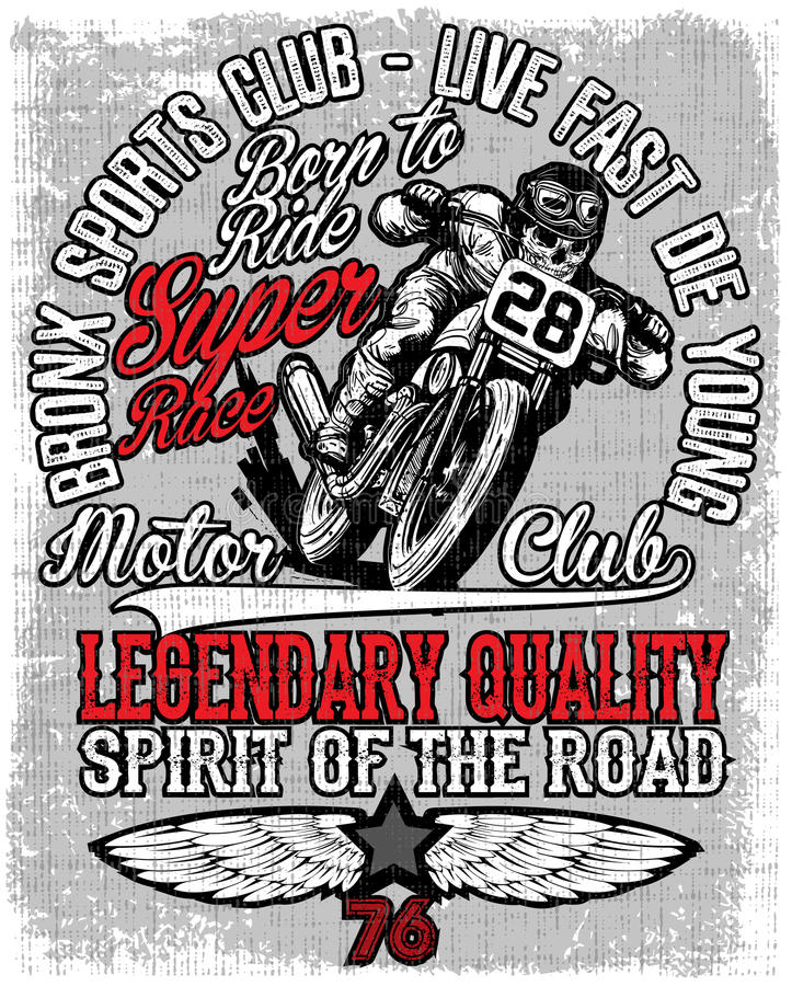 Motorcycle label t-shirt design with illustration of custom chop vector illustration