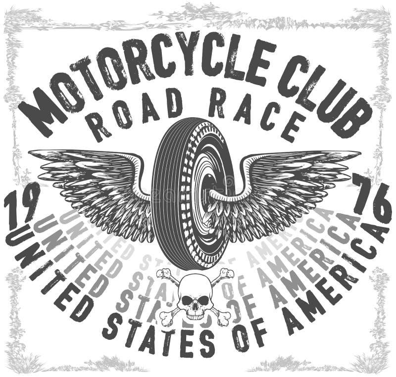 Vintage Tattoo Studio Colorful Print: Custom American Motorcycle Vintage Logotype Stock Vector