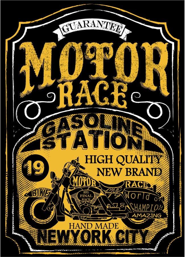 Motorcycle label t-shirt design with illustration of custom chop royalty free illustration