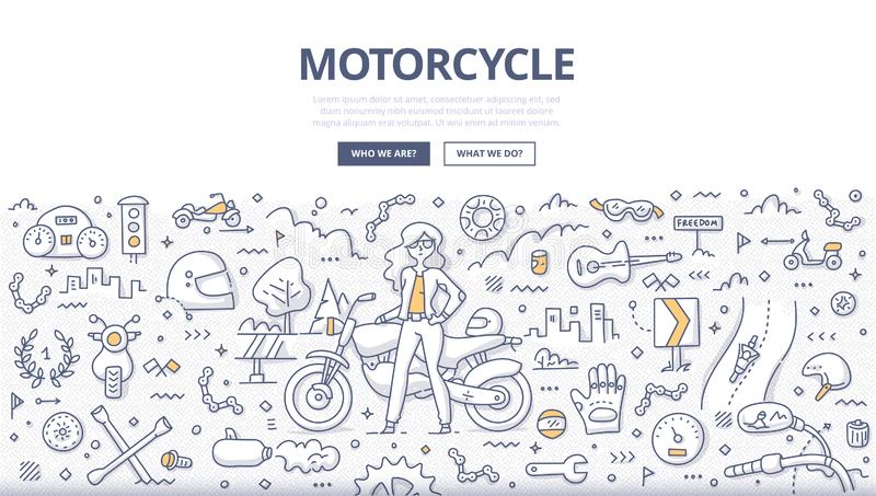 Motorcycle Lifestyle Doodle Concept. Woman motorcyclist in leather jacket standing near motorbike. Motorcycle lifestyle concept. Biker accessories and equipment vector illustration