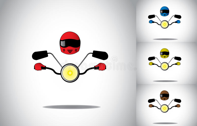Motorcycle motorbike driver helmet riding abstract concept set. Colorful biker with helmet riding motor bike or moped with mirrors and bright yellow light stock illustration
