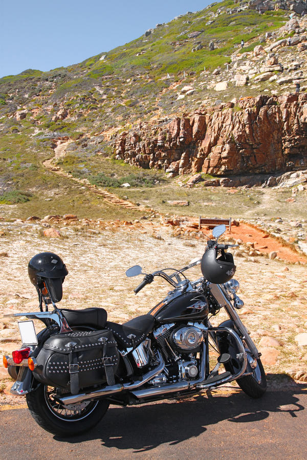 Motorcycle at the mountains stock image