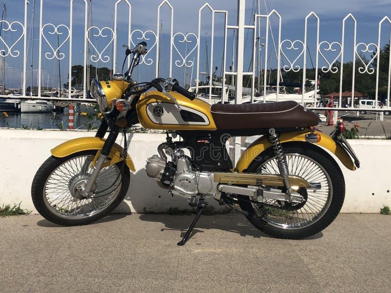 Yellow motorcycle stock photo