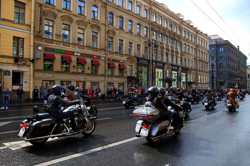 Motorcycle parade on Nevsky Prospect in St. Petersburg royalty free stock image