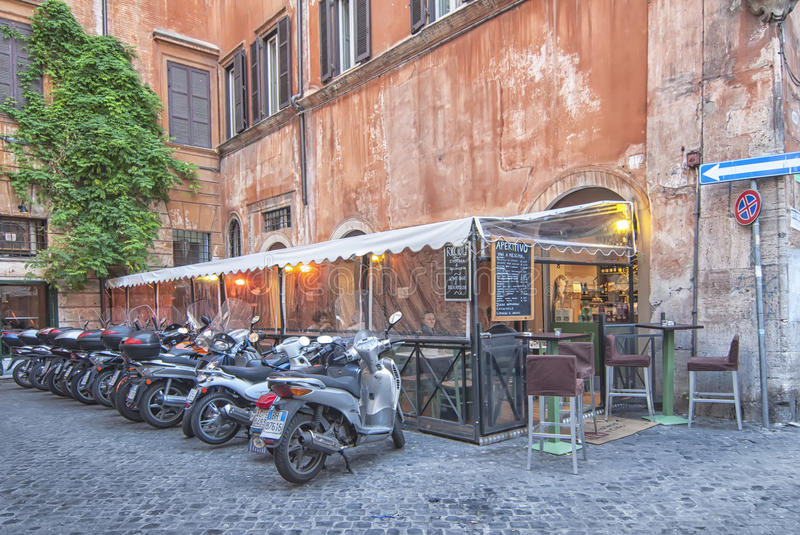 Motorcycle parking in Rome royalty free stock photography