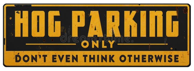 Motorcycle Parking Only Hog Parking Retro Vintage Sign stock illustration