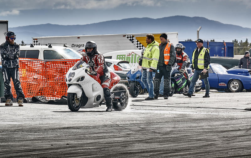 Motorcycle racing before the start royalty free stock photo