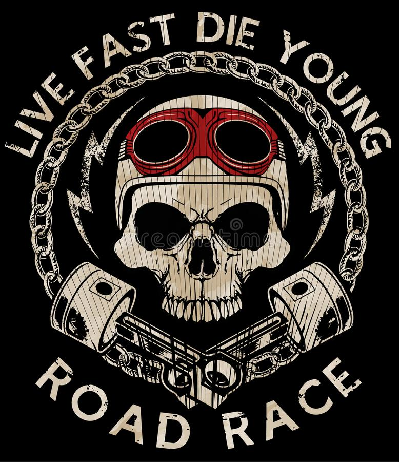 Motorcycle Racing Typography Graphics and Poster. Skull and Old vector illustration