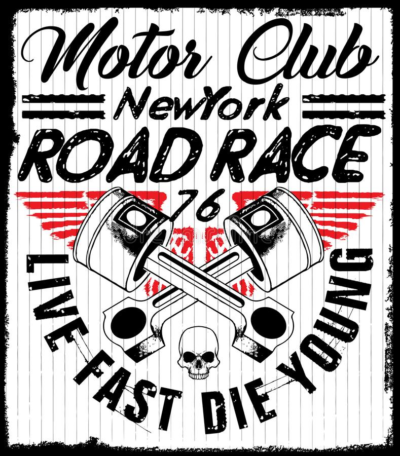 Motorcycle Racing Typography Graphics and Poster. Skull and Old stock illustration