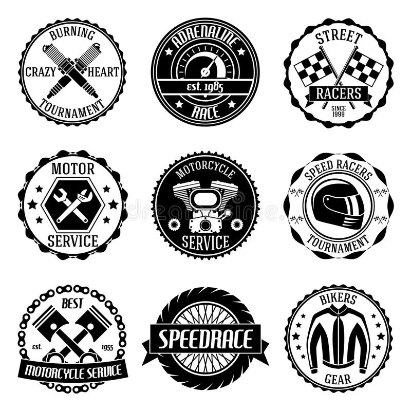 Motorcycle racings emblems vector illustration