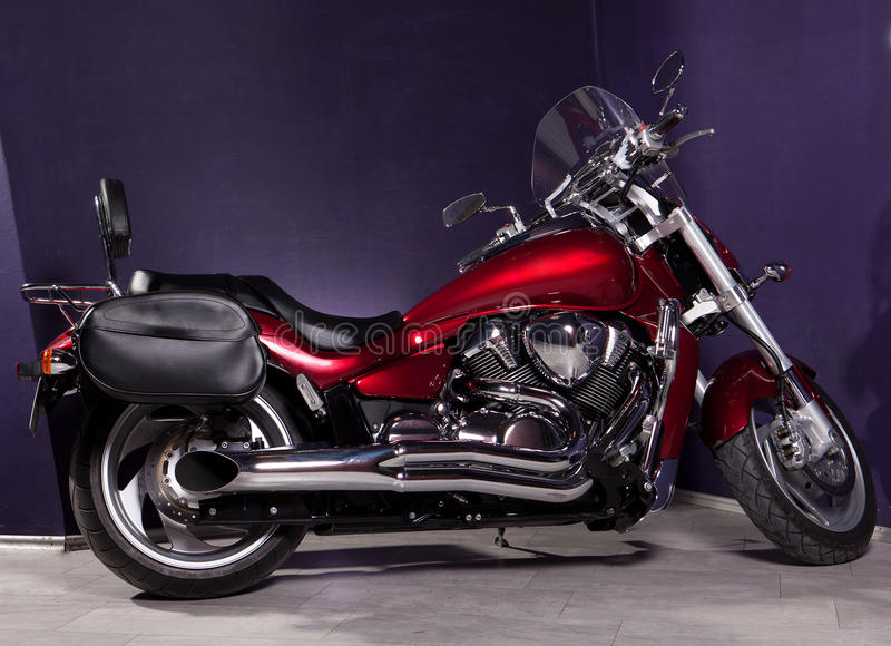 Motorcycle - Red Powerful Chopper Royalty Free Stock Image