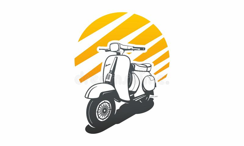 Motorcycle retro unique logo oldschool. Transport and urban vector footage of a Vespa. Brightly colored vintage scooter, stitches along the rim of the seat and royalty free illustration