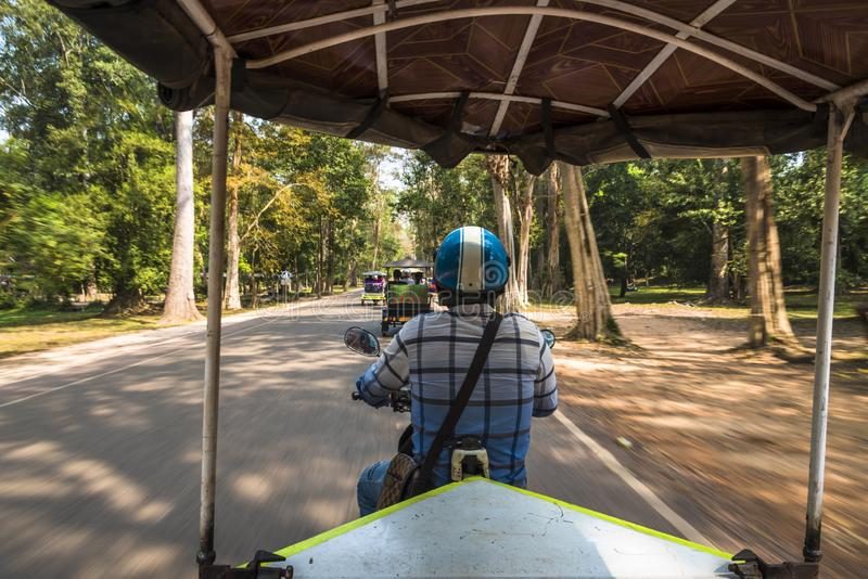 Motorcycle ride in Siem Reap, Cambodia stock photo
