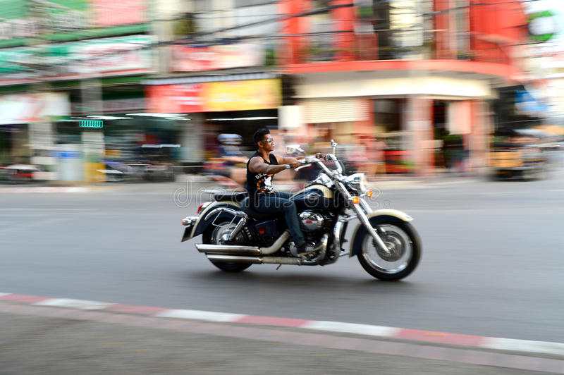 Motorcycle rider. The motorcycle rider in Chiang mai stock photo