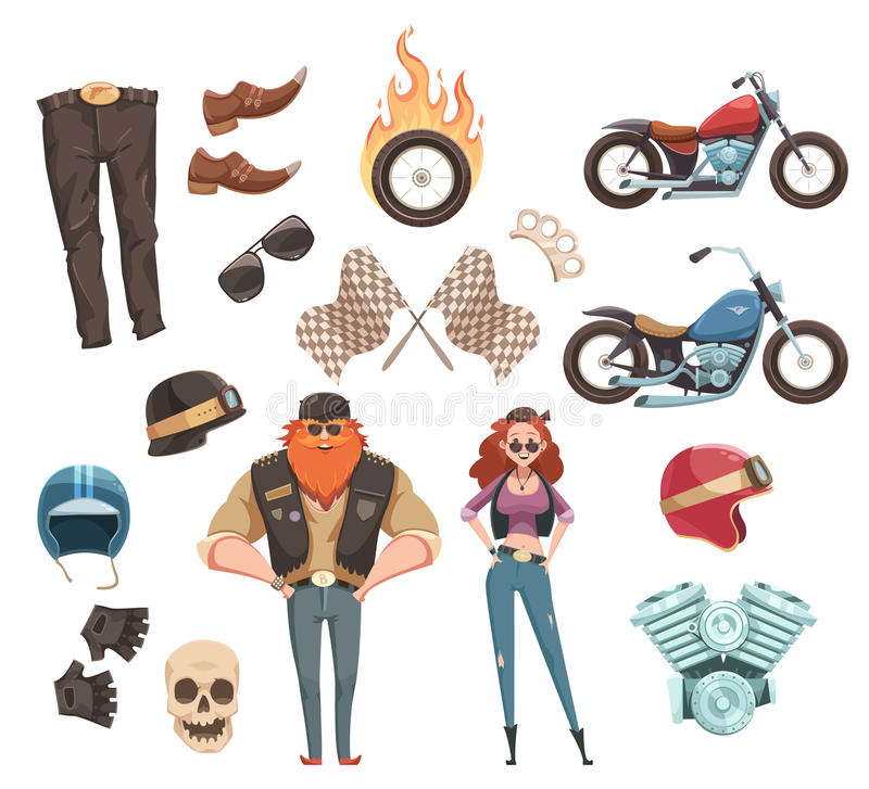 Motorcycle Rider Elements Collection stock illustration
