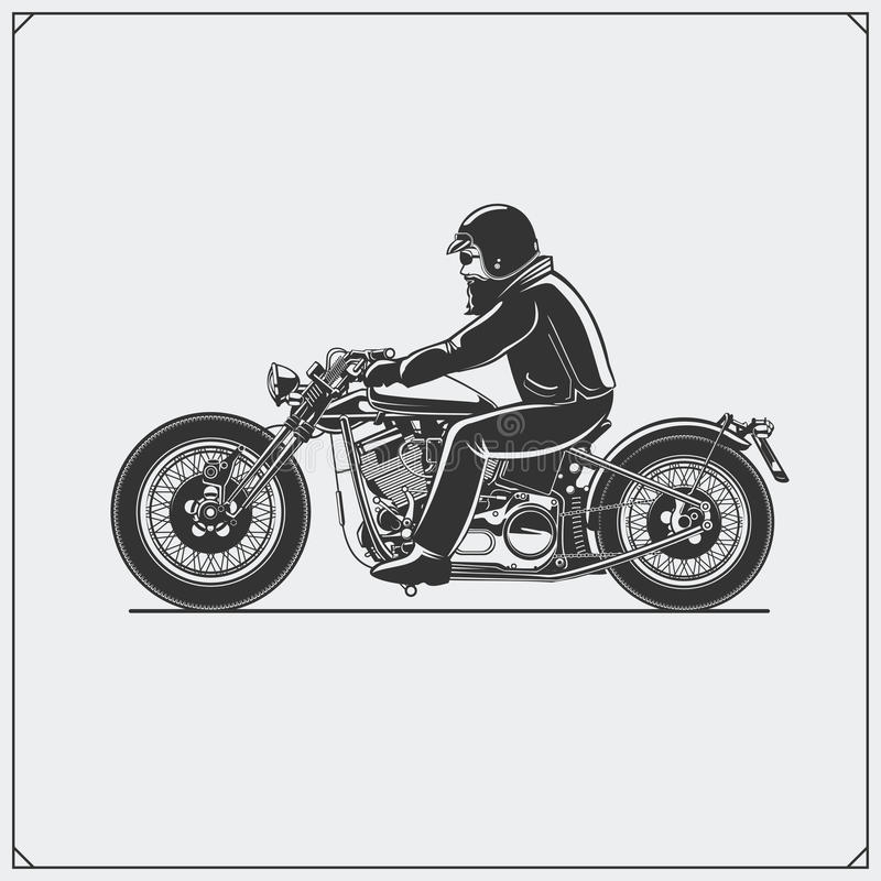 Motorcycle rider with racer helmet on motorcycle. Emblem of bikers club. Vintage style. royalty free illustration