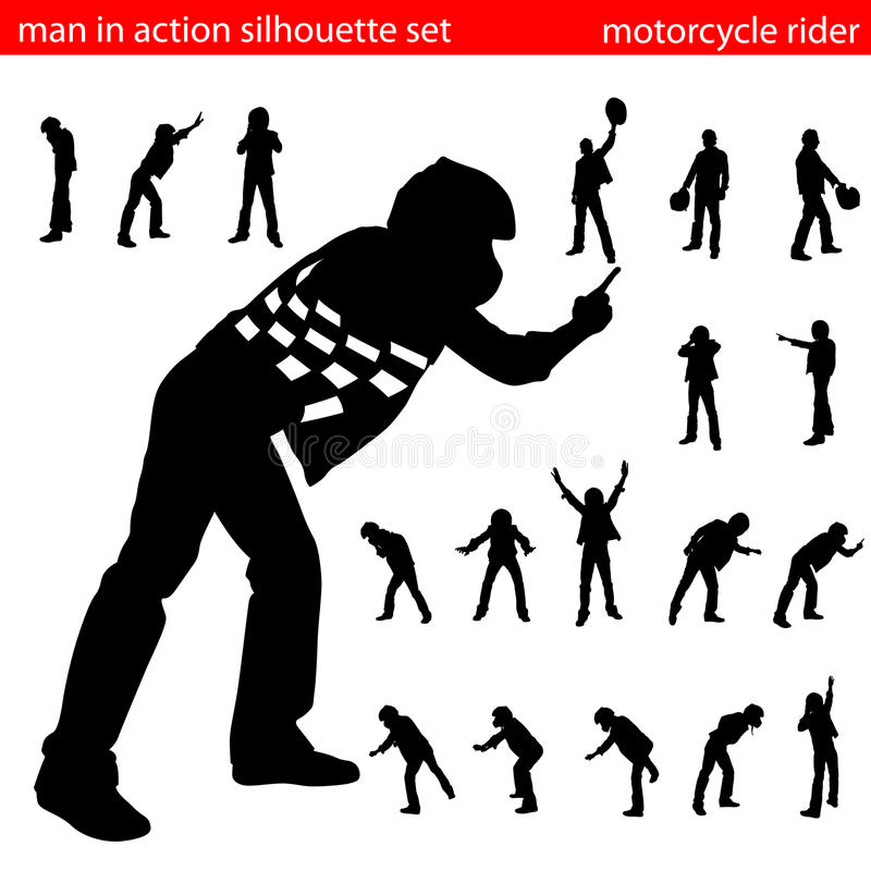 Motorcycle rider silhouette set royalty free illustration