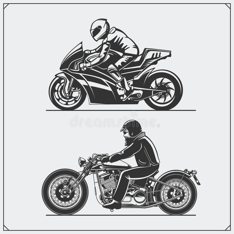 Motorcycle riders. Emblems of biker club. Vintage style. Monochrome design vector illustration