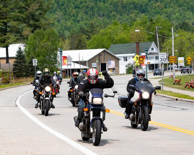 Motorcycle riders in Speculator, NY stock photos