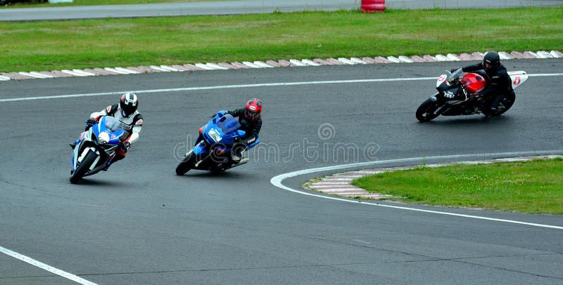 Motorcycle riding session on WallraV Race Center royalty free stock image