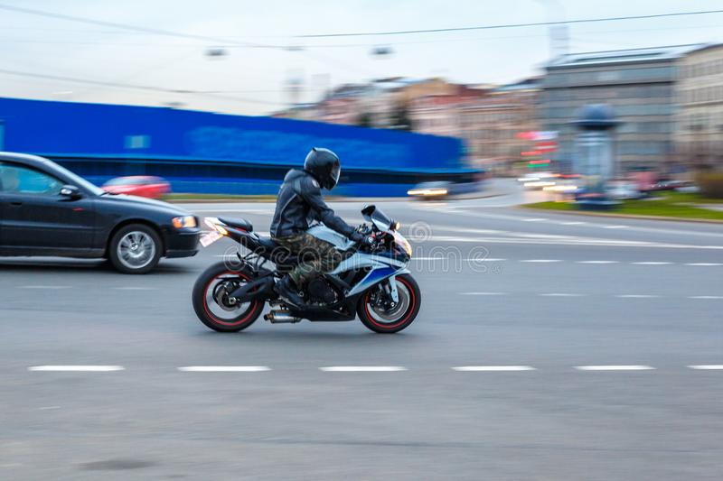 Motorcycle on the road, driving on asphalt at speed royalty free stock photo