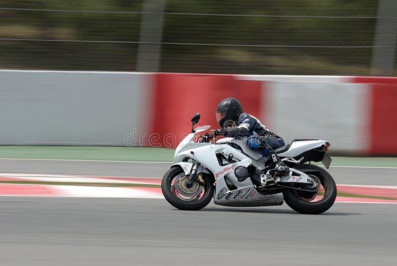 A motorcycle runs at Montmelo Circuit de Catalunya, a motorsport race track