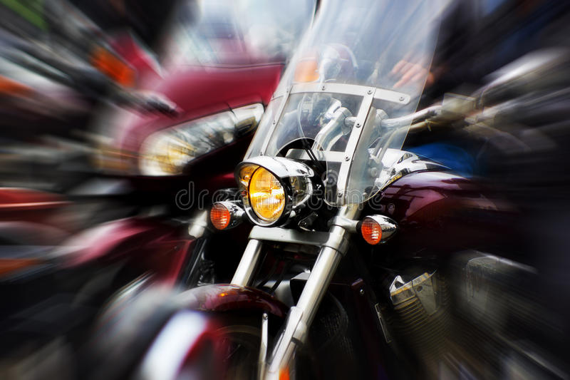Motorcycle. Rushing at city street, blurred motion royalty free stock images