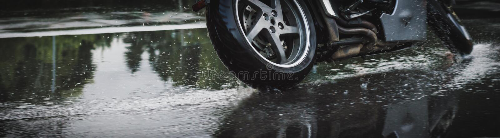 Motorcycle`s wheel. stock images