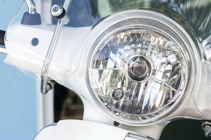 Motorcycle or Scooter headlight lamp and windshields. stock images